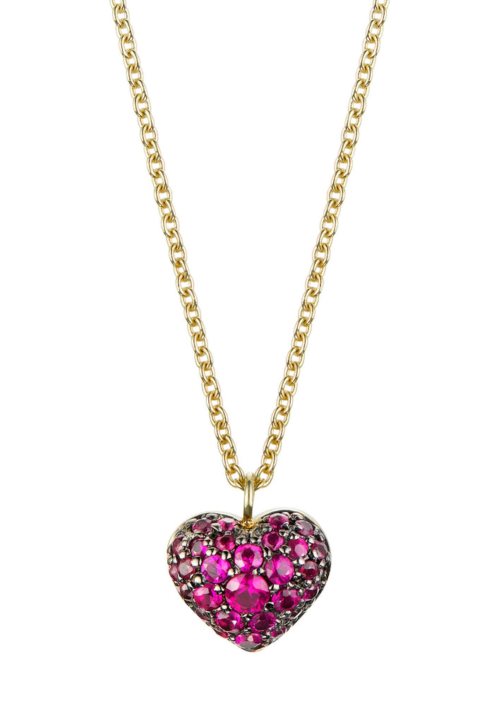 Pave Puffed Ruby Heart Necklace - Finn