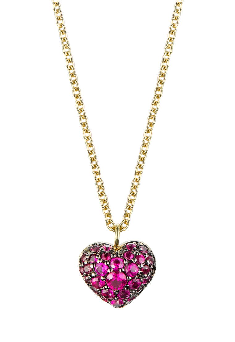 Pave Puffed Ruby Heart Necklace