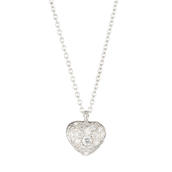 delicate white diamond heart puff necklace in 18k white gold by finn by candice pool neistat