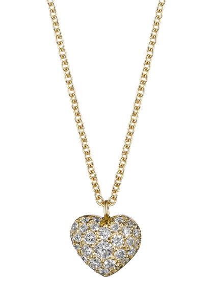 Gold Puffed Diamond Heart Necklace - Finn