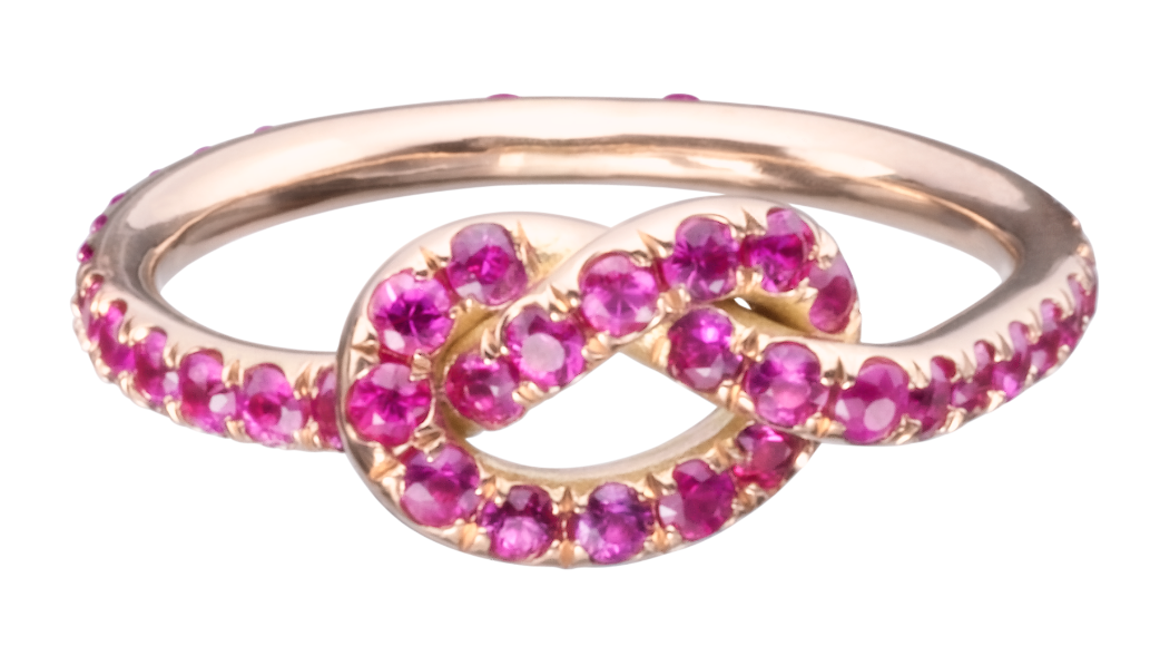 Large Pink Sapphire Love Knot Ring - Finn by Candice Pool Neistat, a perfect gift for Valentines Day