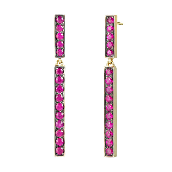 Ruby Bar Dangle Earrings - Finn
