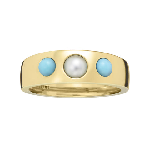 Turquoise & Pearl Pinky Ring