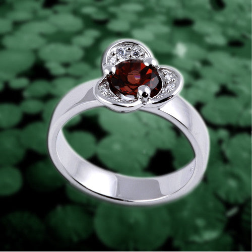 LOTUS : Mosaic Fine Silver Ring with Red Garnet - Mosaic Design Jewelry - 1