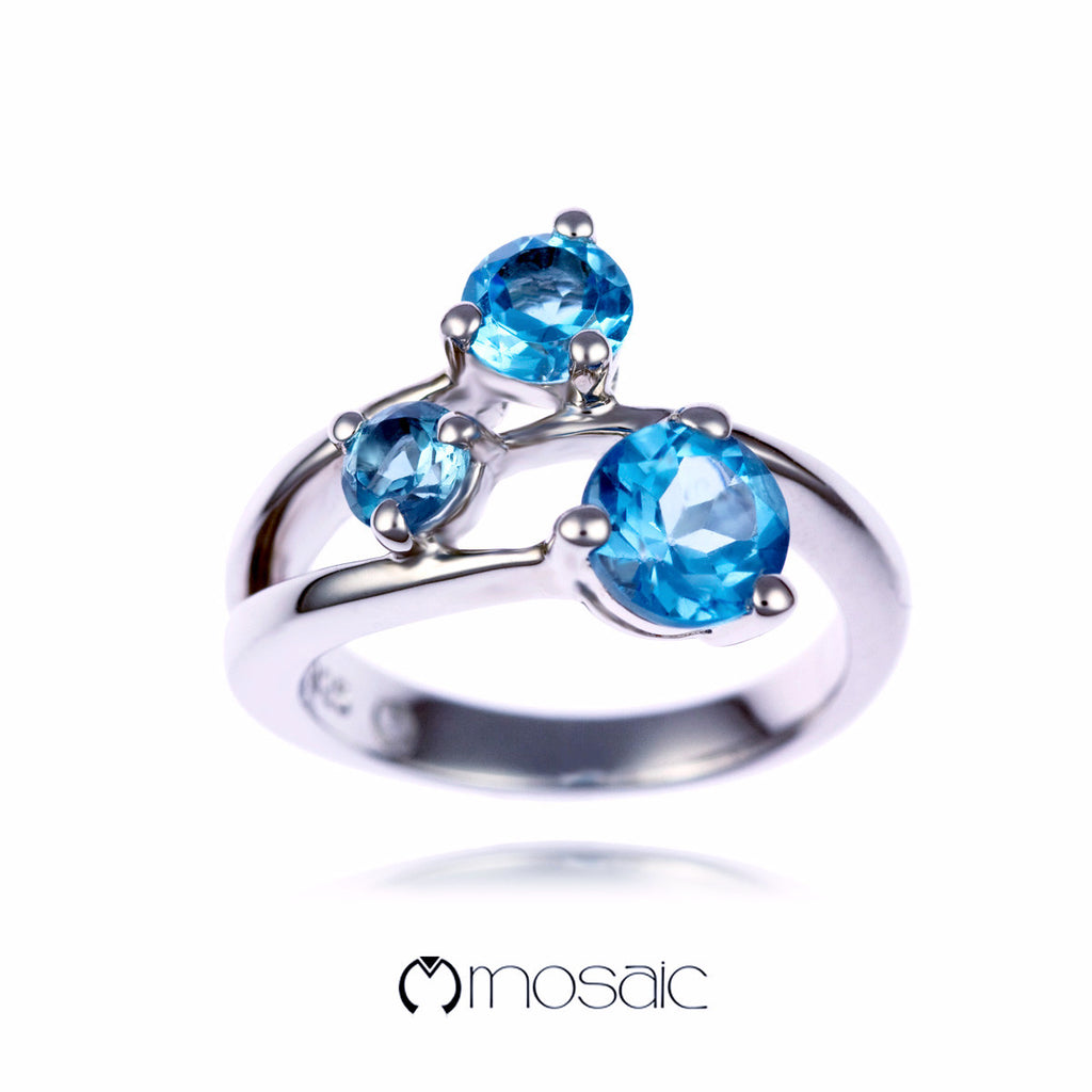 Thema :: Blue Topaz Ring 1.667B - Mosaic Design Jewelry - 1