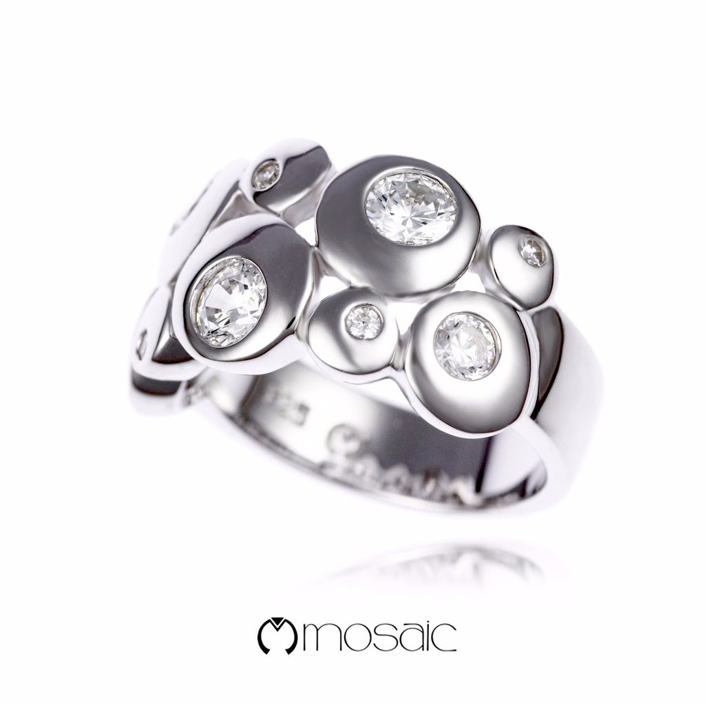 Crystell :: Fine Silver Ring - Mosaic Design Jewelry - 1
