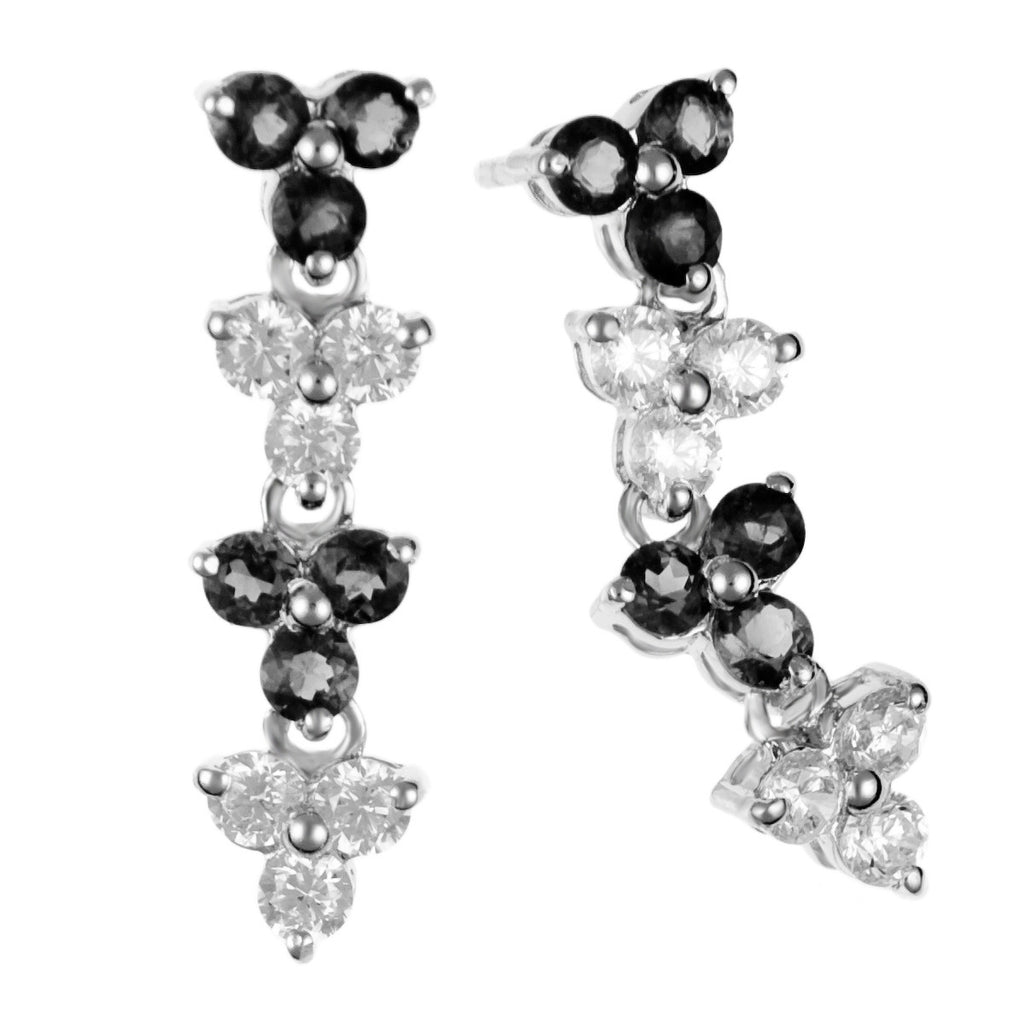 Cherie (B&W) :: Fine Silver Black and White Brilliant Drop Earrings 2.280K - Mosaic Design Jewelry