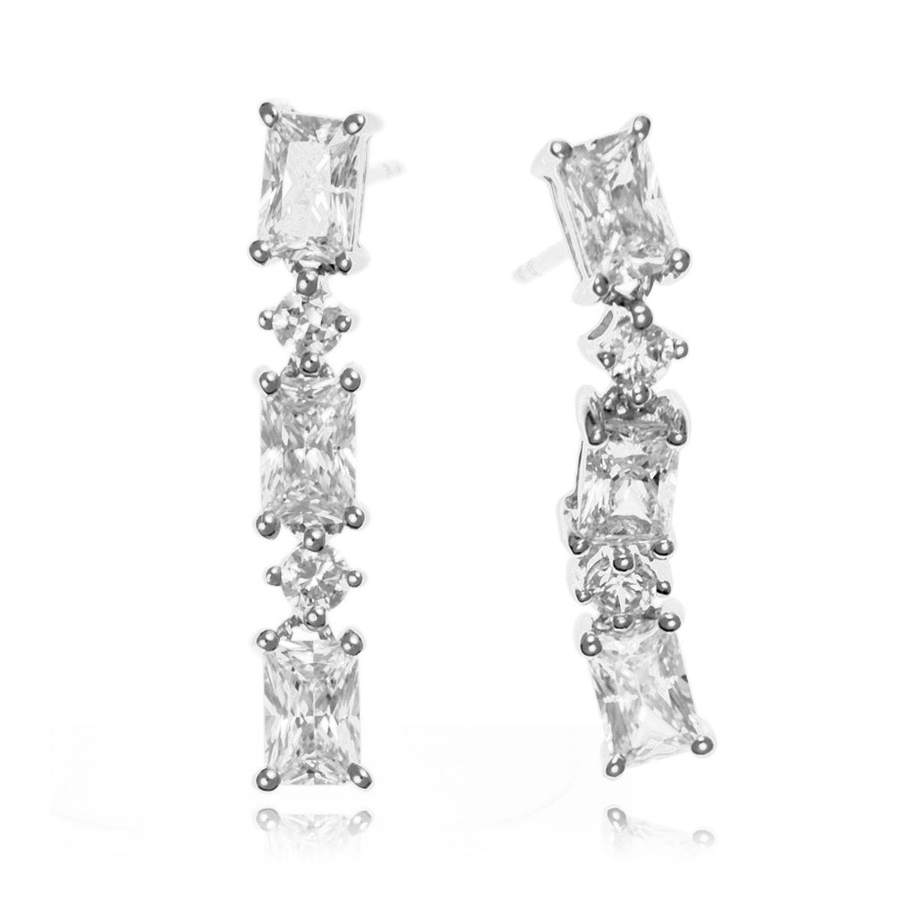 Melissa :: Fine Silver Rectangular Princess cut Drop Earrings 2.375 - Mosaic Design Jewelry