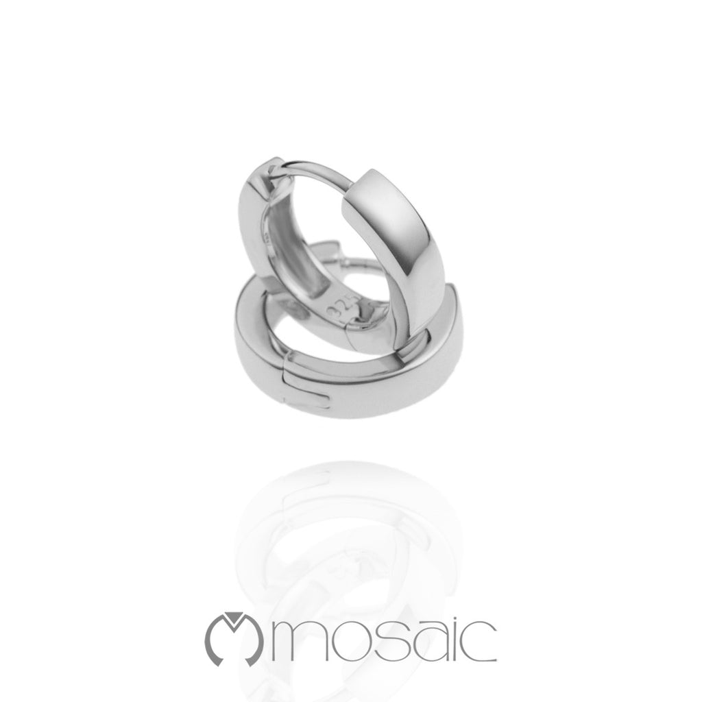 Bianca :: Fine Silver Small Plain Hoop Earrings 2.513 - Mosaic Design Jewelry