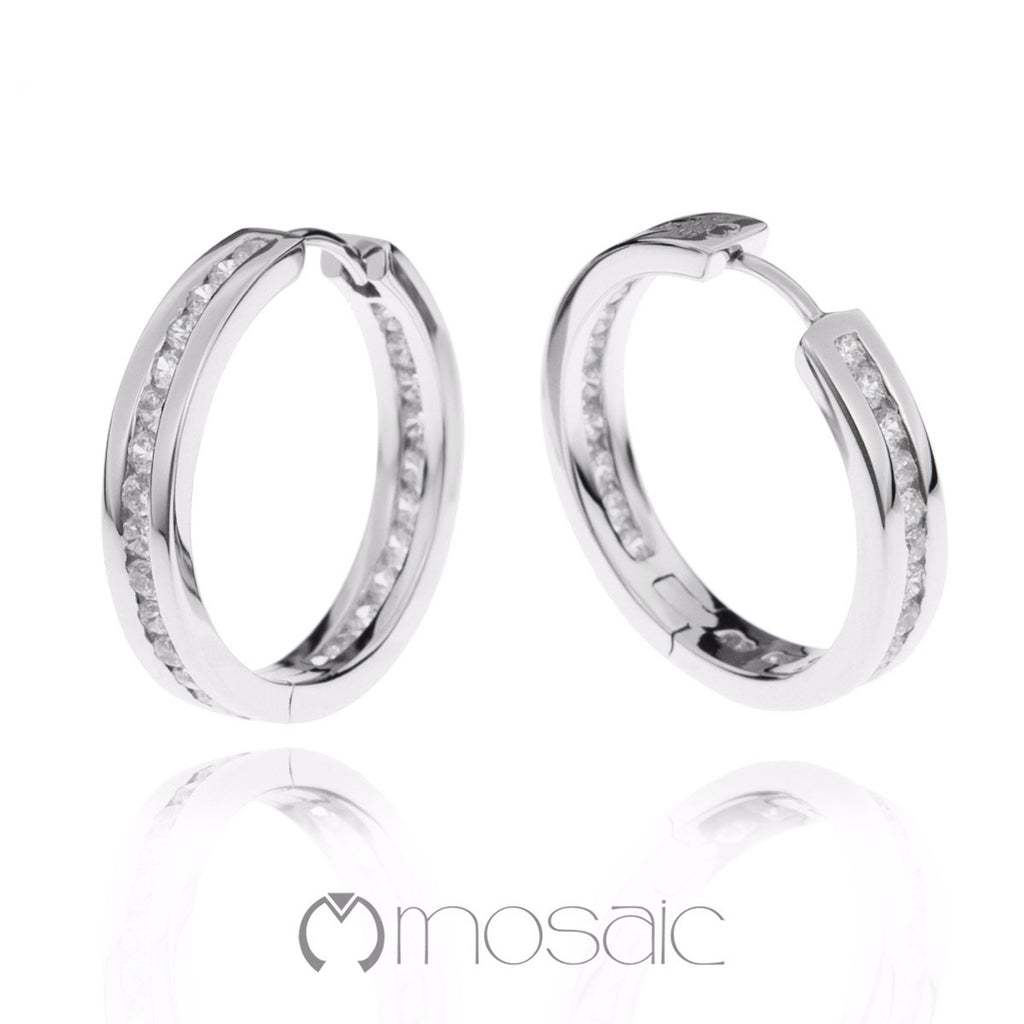 Joey :: Fine Silver Channel Hoop Earrings 2.520 - Mosaic Design Jewelry