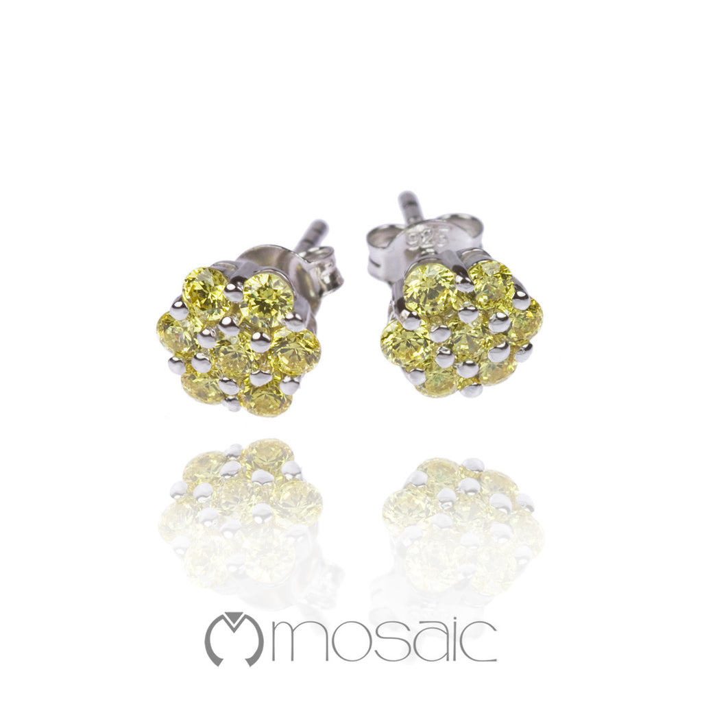 Evelyn Yellow :: Fine silver Yellow crystals Flower Earrings 2.528YEL - Mosaic Design Jewelry