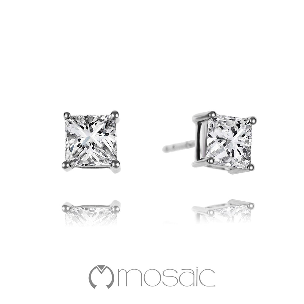 Fine Silver Brilliant Princess-Cut Stud Earrings - Mosaic Design Jewelry