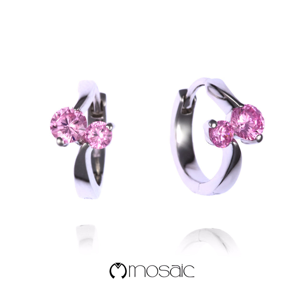 Mika (Pink) :: Fine Silver Hoop Earrings 2.530PK - Mosaic Design Jewelry