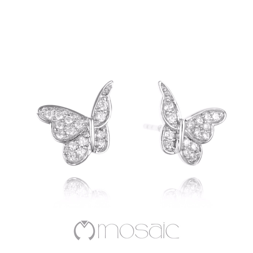 Papillon :: Fine Silver Dancing Butterfly Earrings - Mosaic Design Jewelry