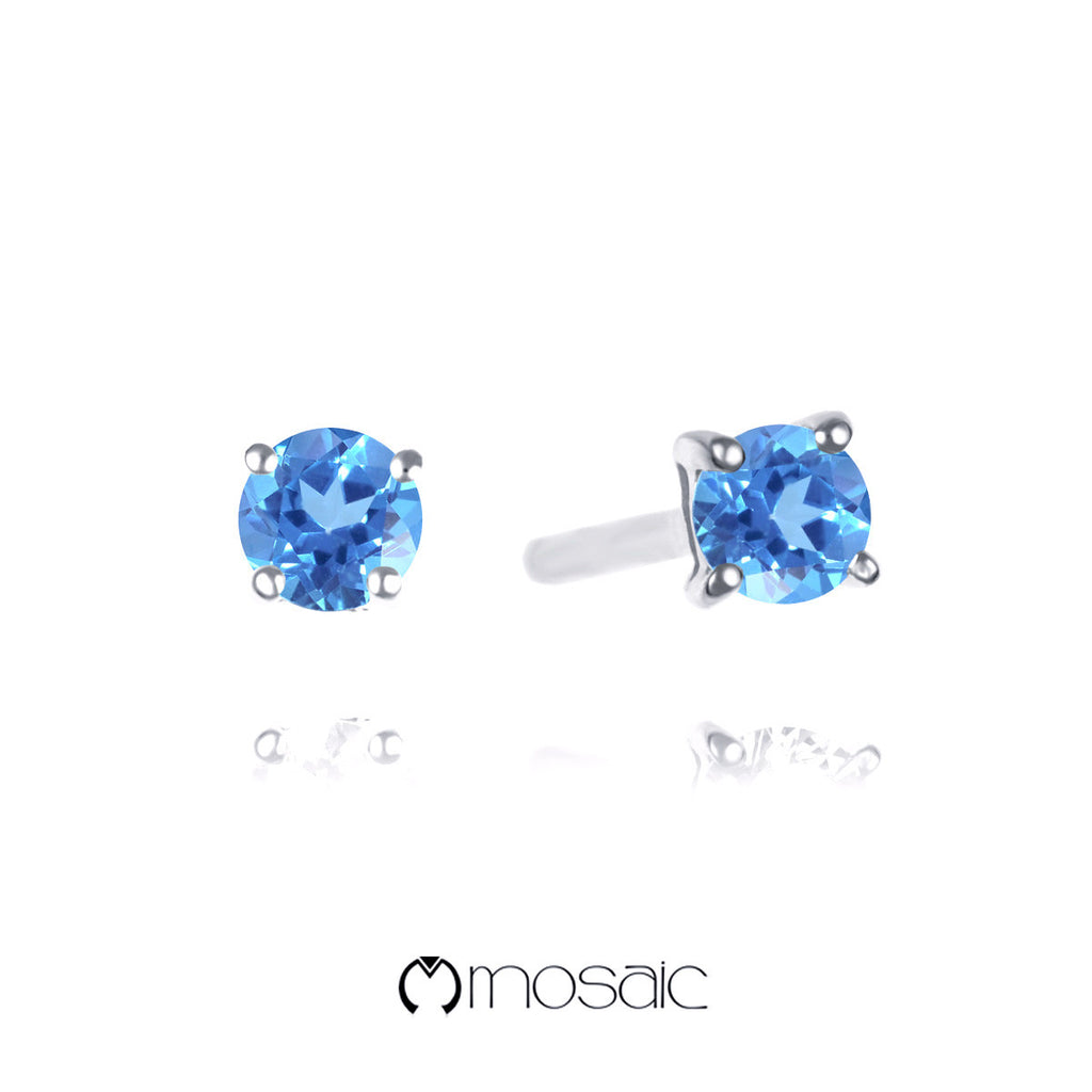 Fine Silver 3mm Blue Topaz Genuine Gemstone Simple Stud Earrings 2.418B - Mosaic Design Jewelry