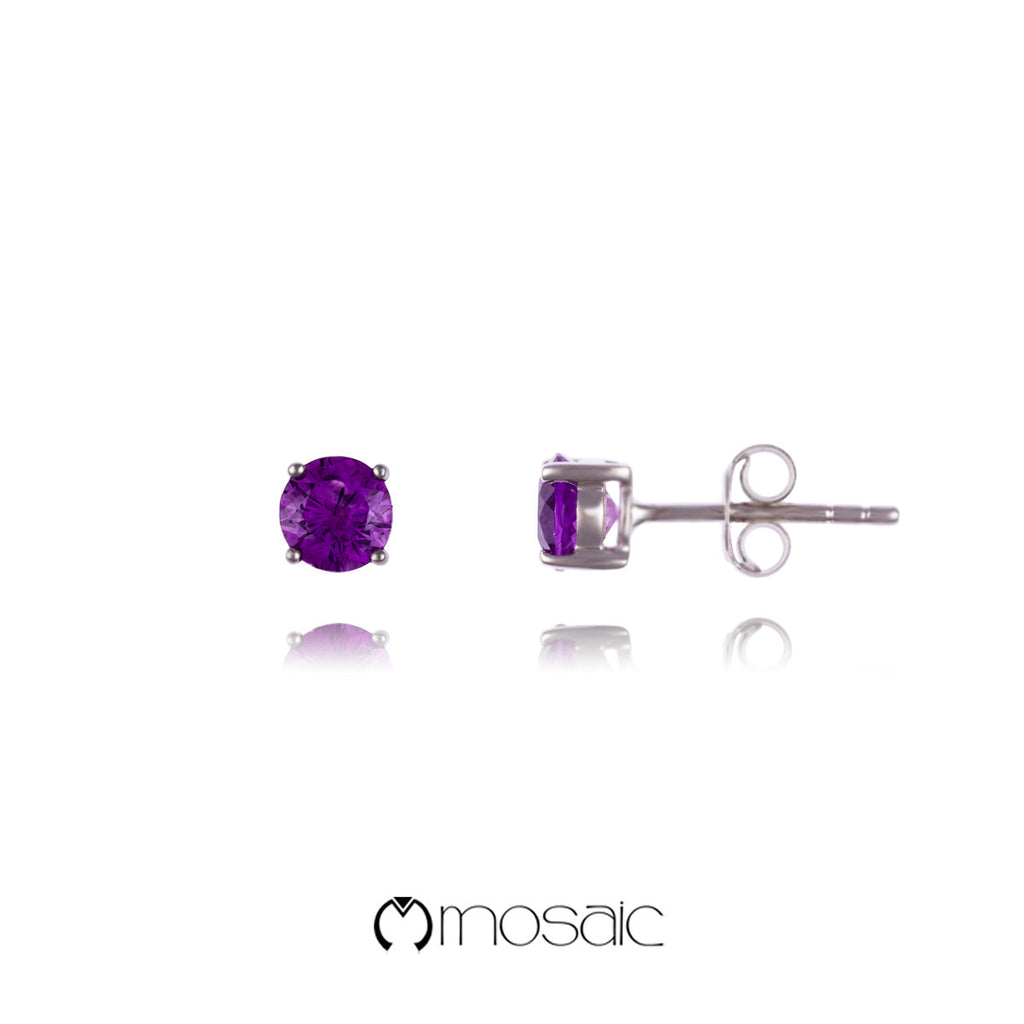 Amethyst Round :: Fine Silver 5mm Purple Amethyst Gemstone Simple Stud Earrings - Mosaic Design Jewelry