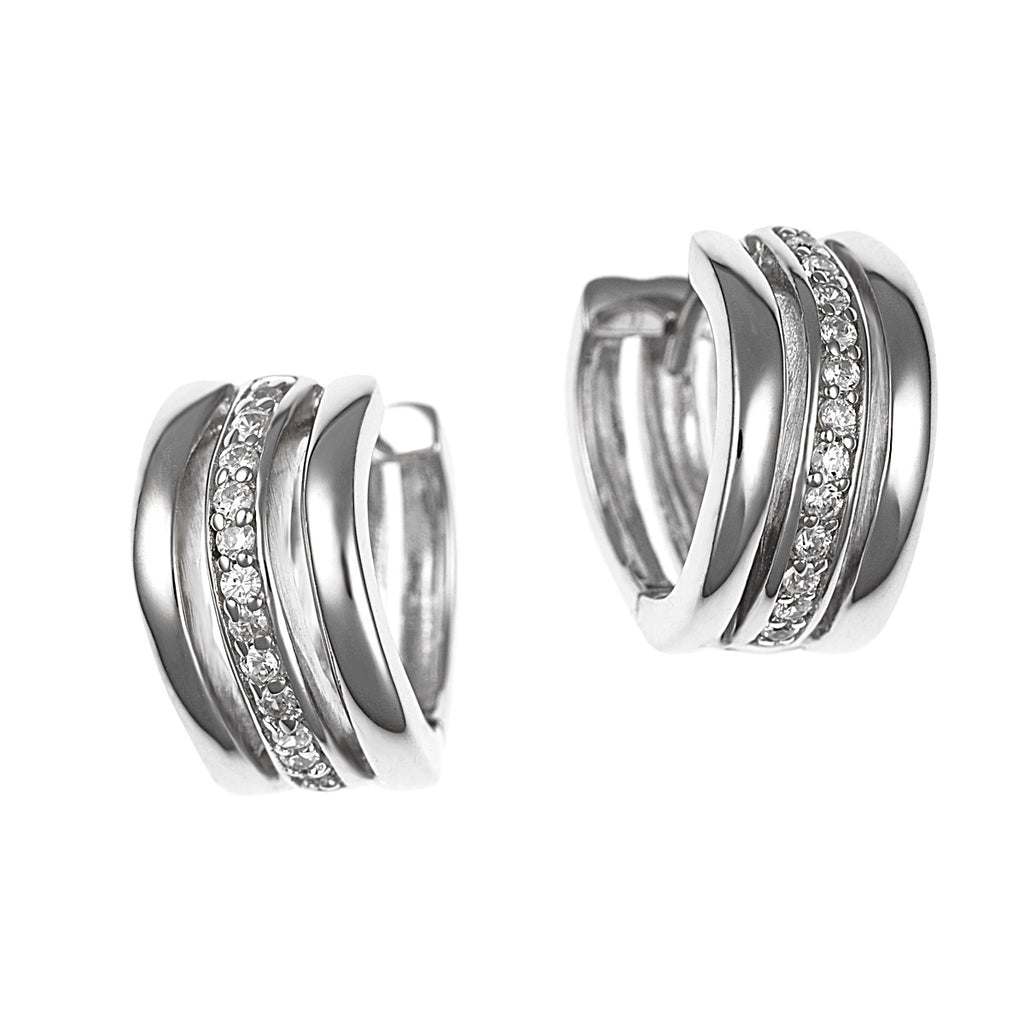 Kyria :: Fine Silver Three Row Hoop Earrings