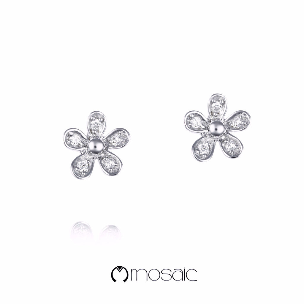 Tansy :: Fine Silver Lovely Small Flower Earrings - Mosaic Design Jewelry - 1