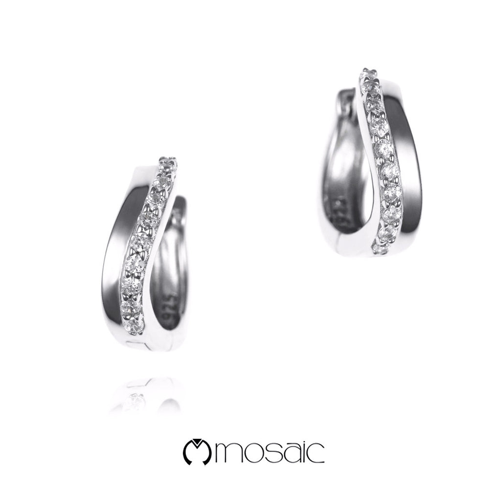 Cleo :: Mosaic Fine Silver Designer Hoop Earrings 250201 - Mosaic Design Jewelry - 1