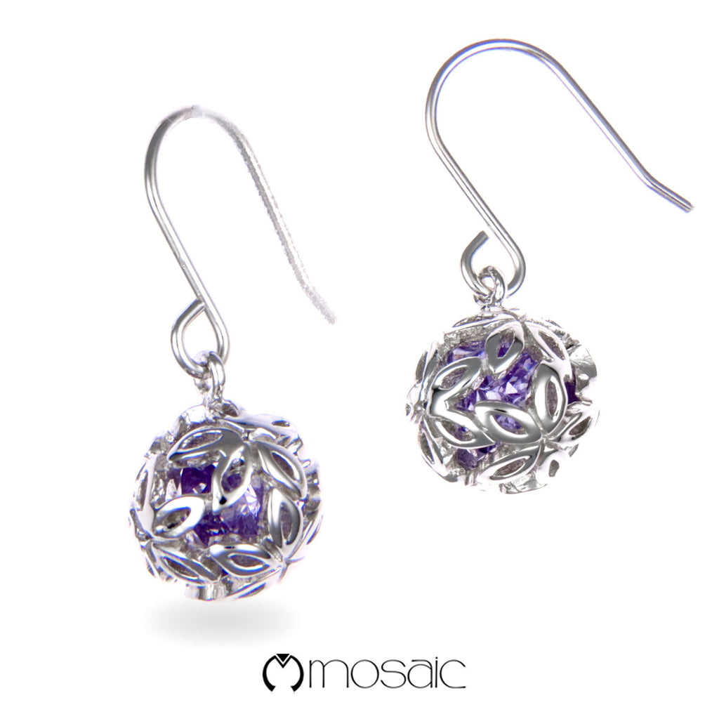 Lynae (Purple) :: Mosaic Fine Silver Designer Flower Ball Hook Earrings - Mosaic Design Jewelry - 1