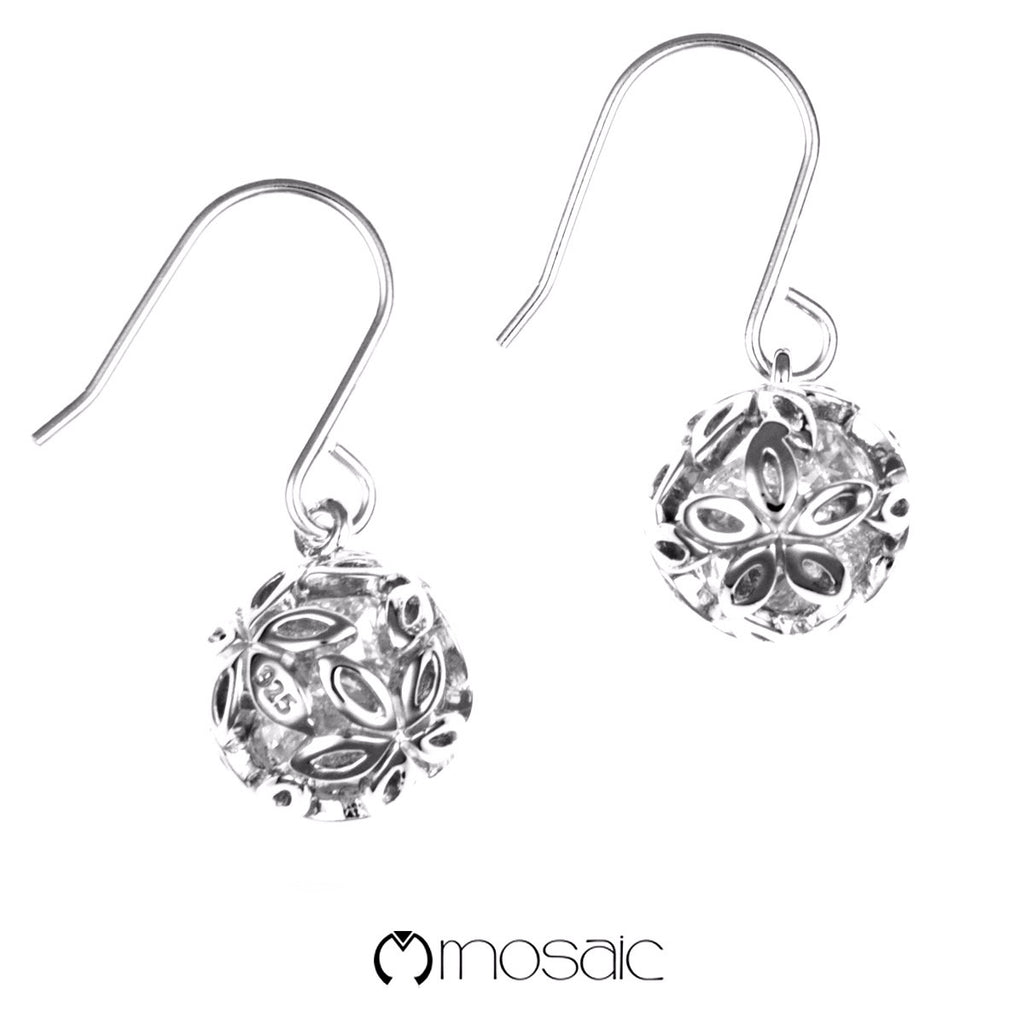 Lynae :: Mosaic Fine Silver Designer Flower Ball Hook Earrings - Mosaic Design Jewelry