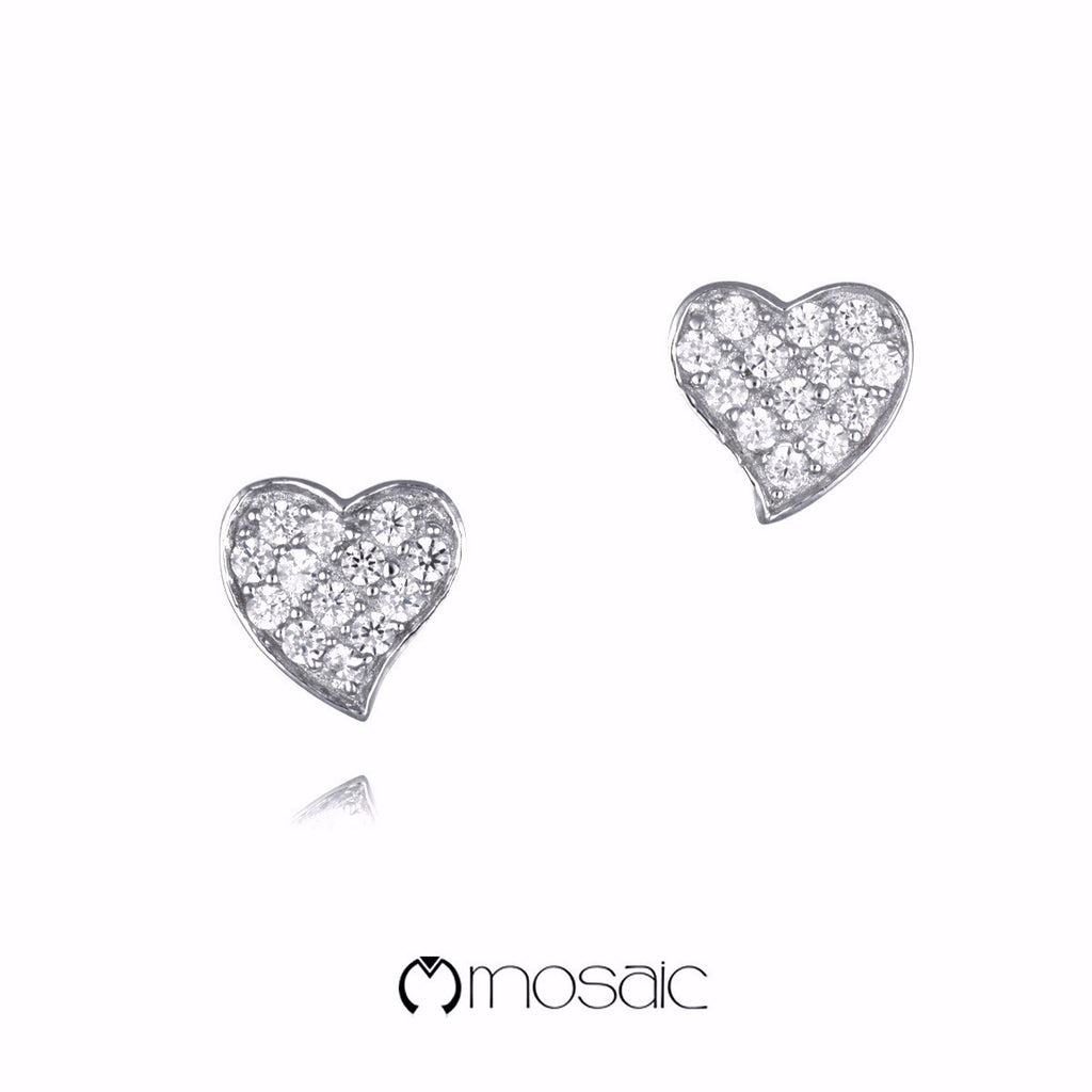Hikaru :: Mosaic Fine Silver Heart Earrings 250602 - Mosaic Design Jewelry - 1
