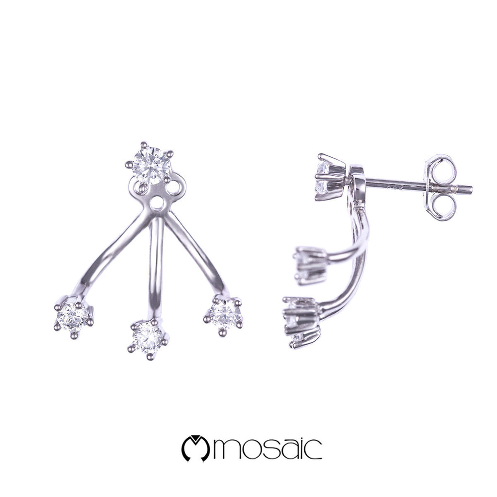 Fine Silver 2 in 1 Simple Stud and Ear Jacket Earrings Set - Mosaic Design Jewelry - 1