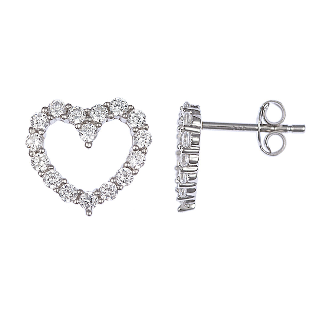 Fine Silver Brilliant Heart Stud Earrings