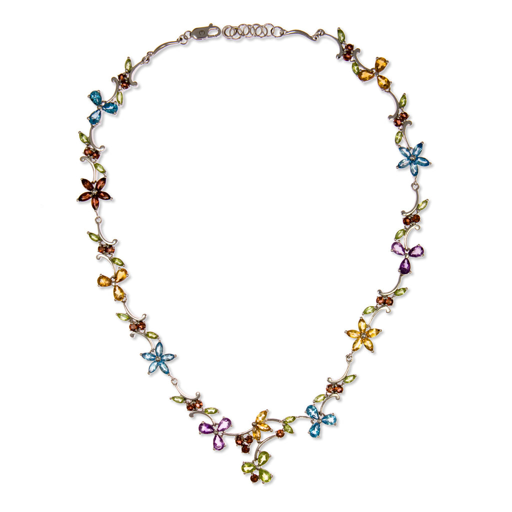 Scarlett :: Fine Silver Multicolour Gemstone Lux Necklace 3.426X - Mosaic Design Jewelry - 1