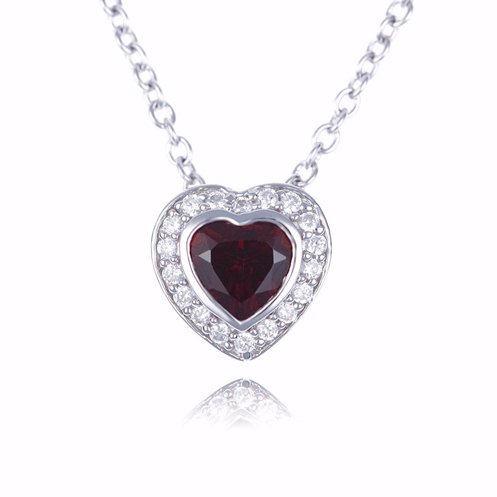 Hazel Red :: Fine Sterling Silver Red Garnet Heart Gemstone Necklace - Mosaic Design Jewelry