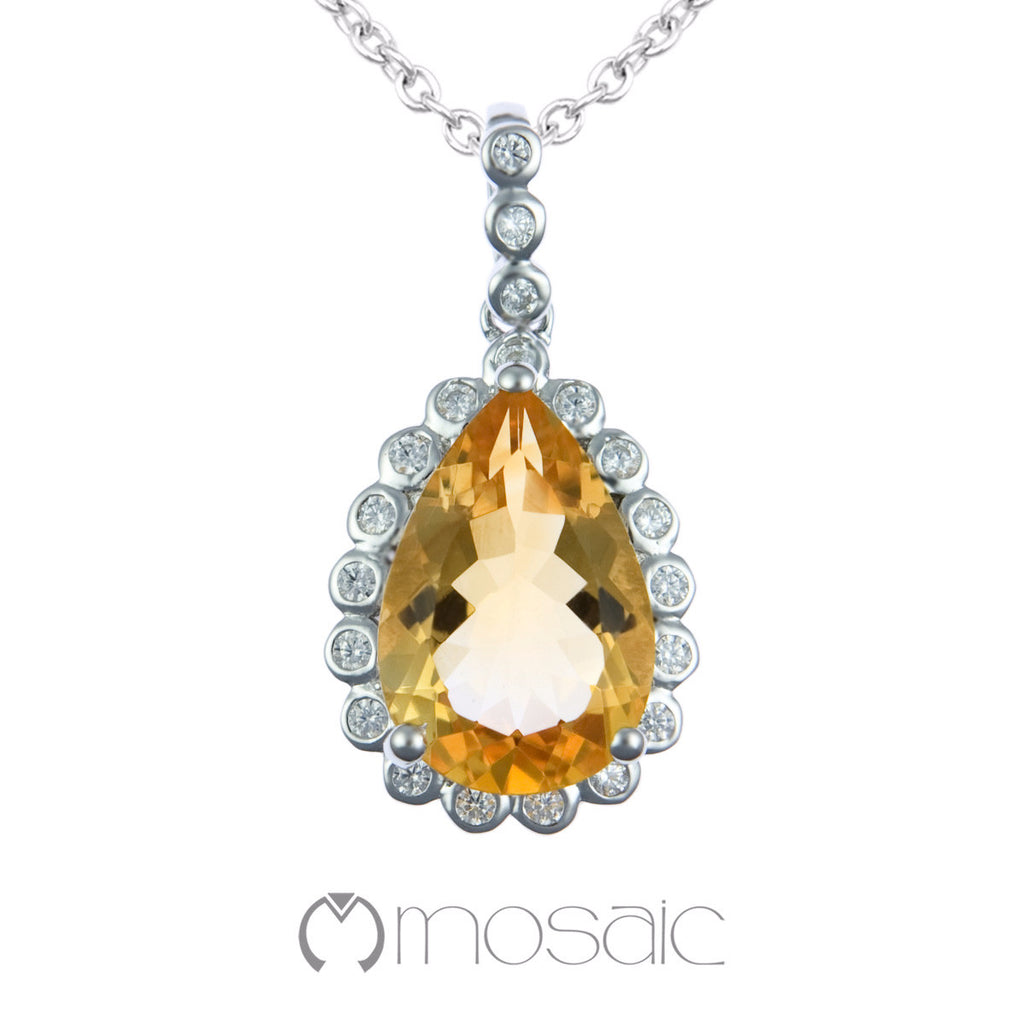 Tyanna lux :: Fine Silver Pear Yellow Citrine Gemstone Necklace 3.648C - Mosaic Design Jewelry