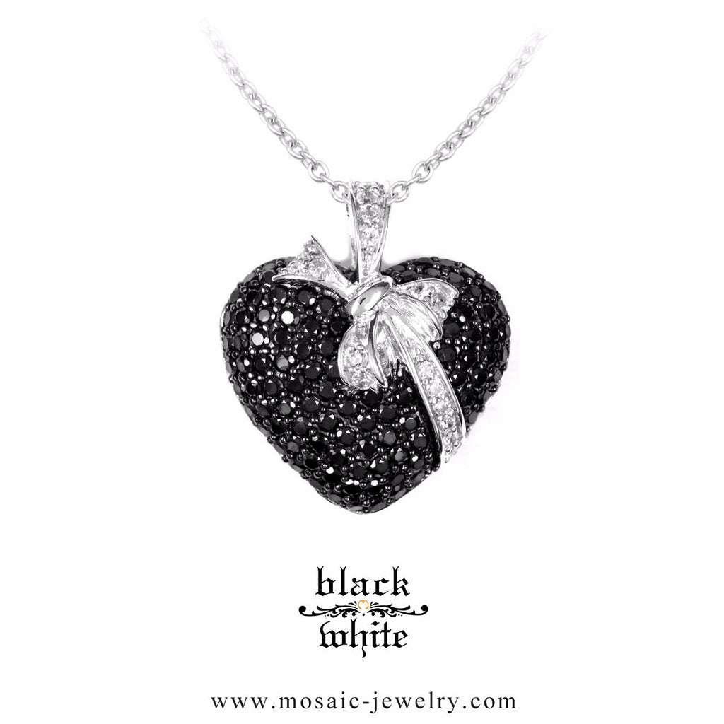 B&W Heart with bow :: Mosaic Fine Silver Designer 3D Heart Necklace 3.654BZ - Mosaic Design Jewelry - 1