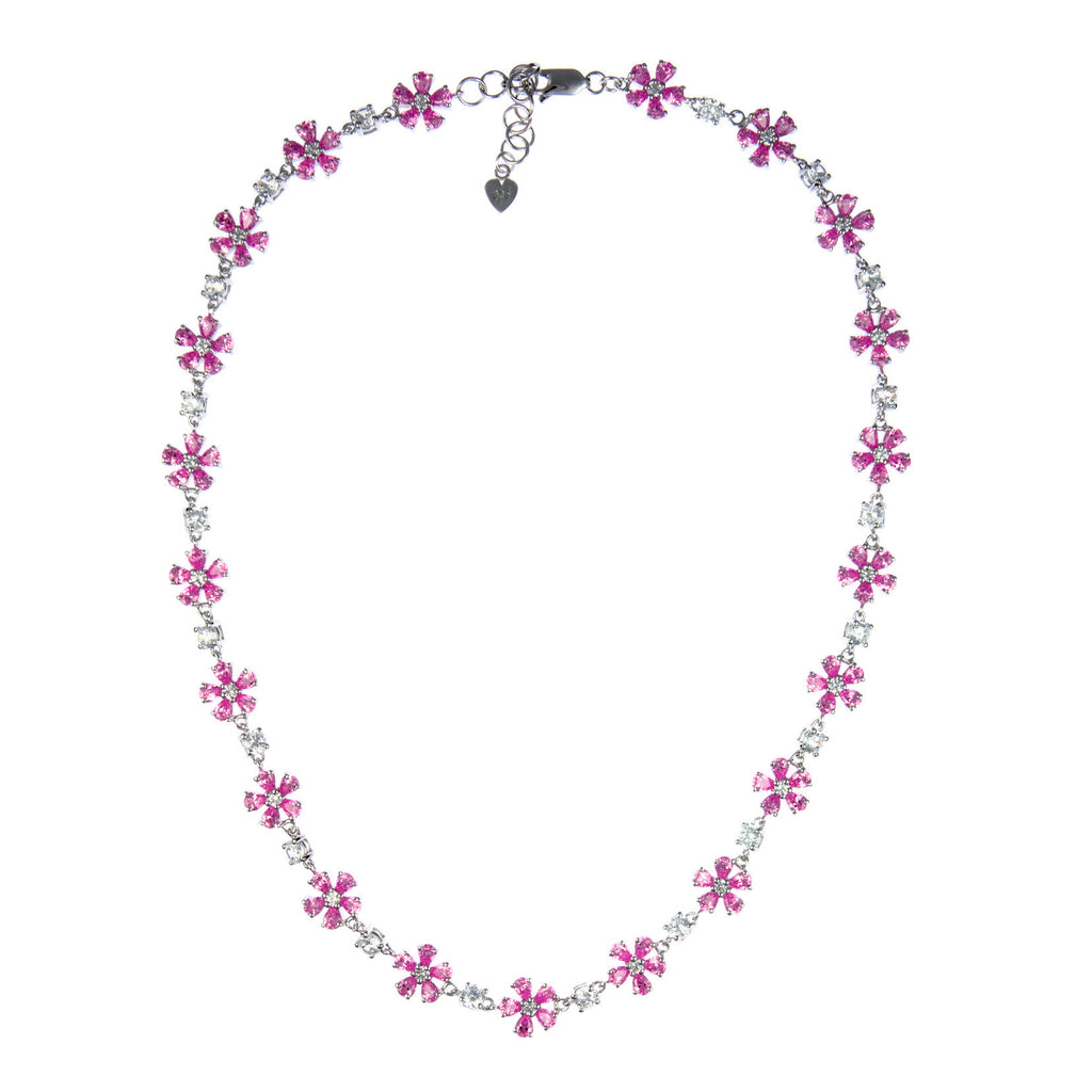 Josephine (Pink) :: Flower Necklace 3.656PK - Mosaic Design Jewelry - 1