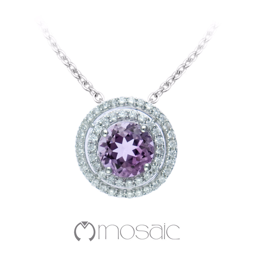 Galina :: 2 Carat Purple Amethyst Gemstone Necklace 3.678A - Mosaic Design Jewelry - 1