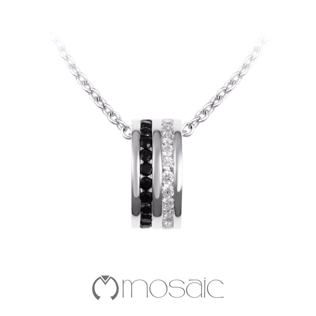 B&W Karmen :: Fine Silver Black and White Eternity Necklace 3.683BK - Mosaic Design Jewelry - 1