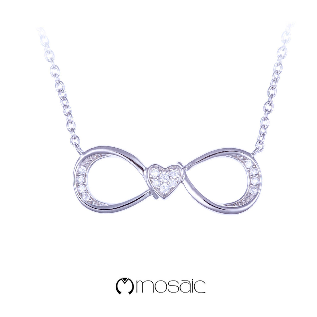 Mosaic Fine Silver Infinity Heart Necklace - Mosaic Design Jewelry - 1