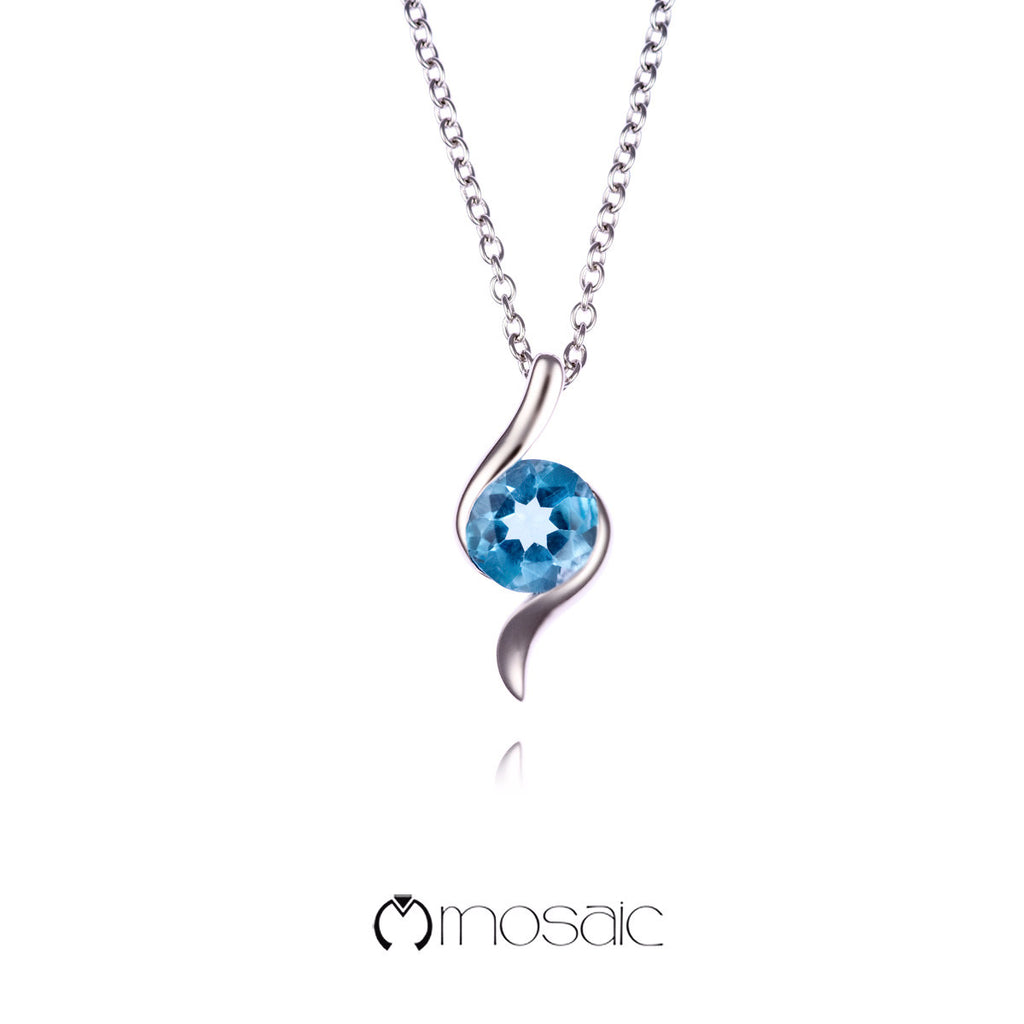 Gwen :: Fine Silver Blue Topaz Gemstone Necklace - Mosaic Design Jewelry