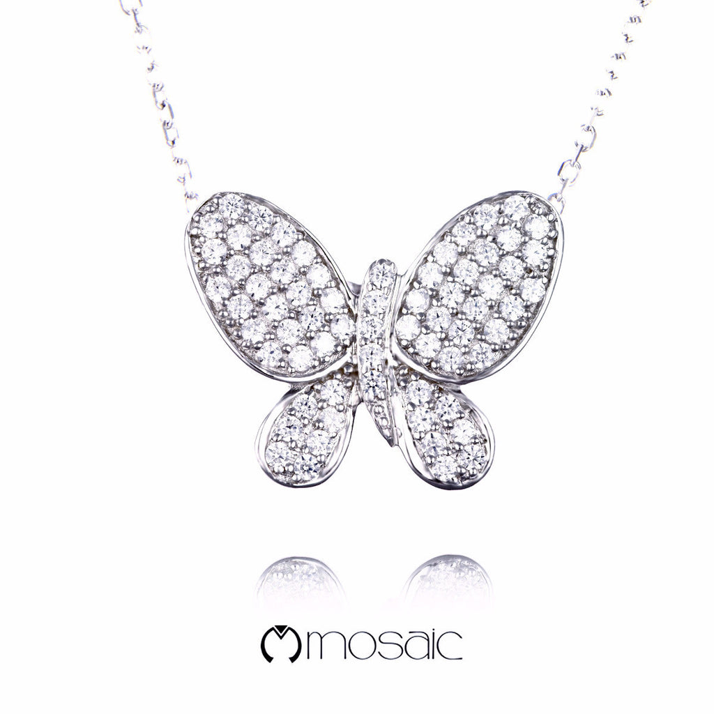 Millie :: Fine Silver Brilliant Butterfly Necklace - Mosaic Design Jewelry - 1