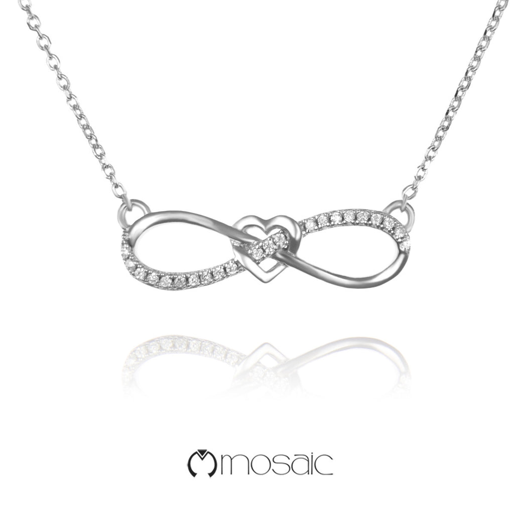 Everly :: Fine Silver Infinity Necklace - Mosaic Design Jewelry - 1