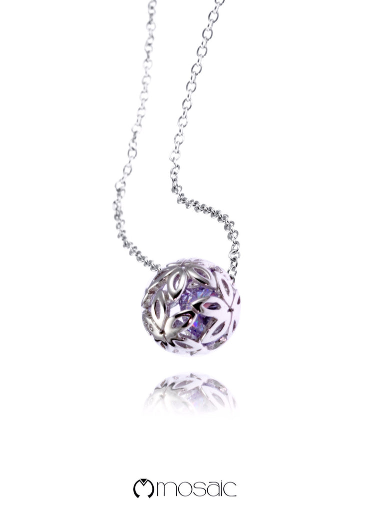 Lynae (Purple)  :: Fine Silver Flower Ball Necklace - Mosaic Design Jewelry - 1