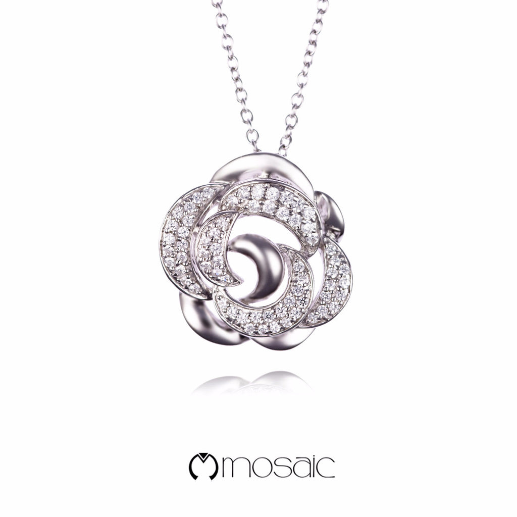 ICE rose :: Fine Silver Rose Flower Necklace - Mosaic Design Jewelry - 1