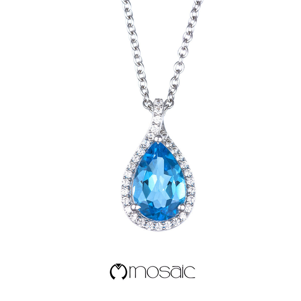 Fine Silver Pear Shaped Blue Topaz Gemstone Necklace - Mosaic Design Jewelry - 1