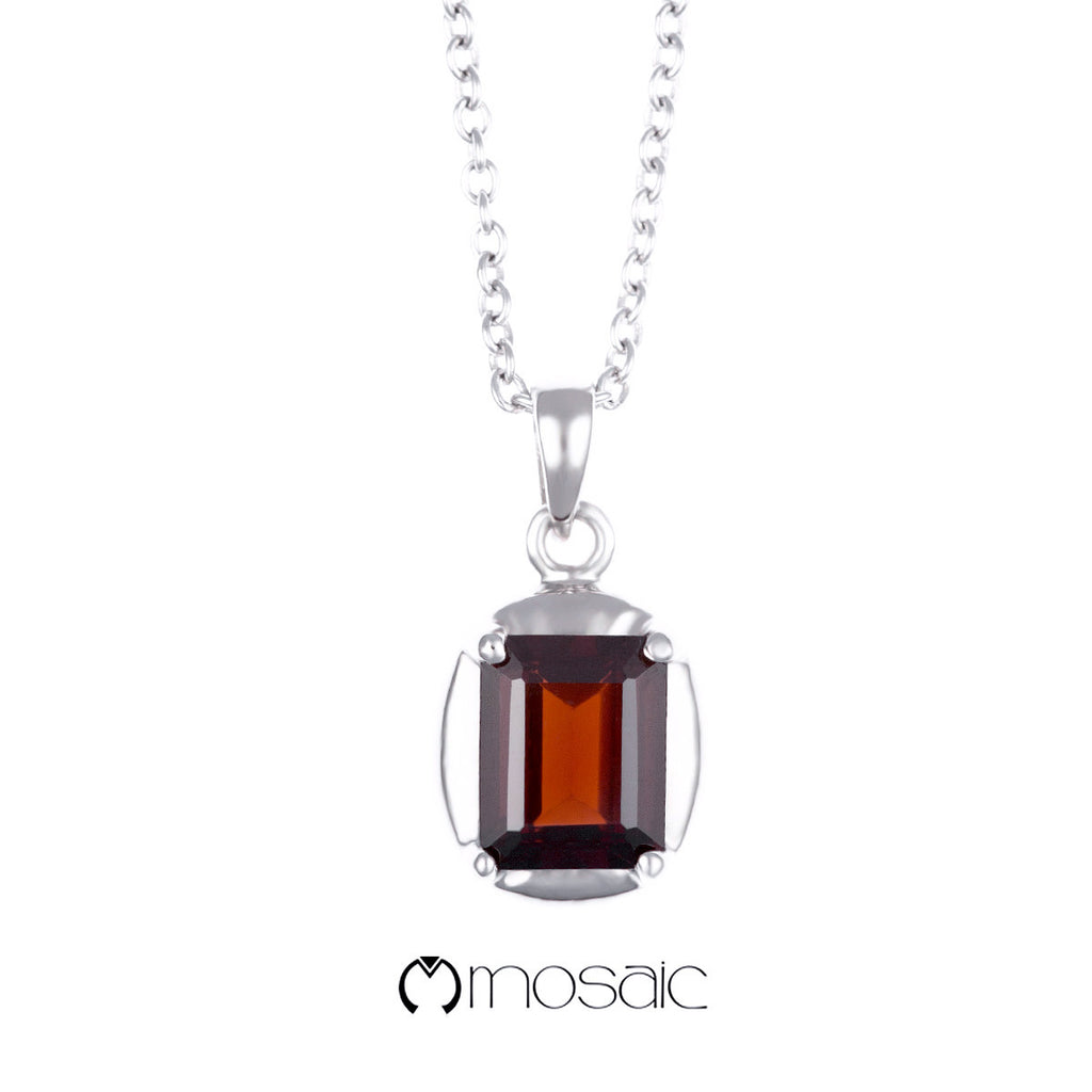 Fine Silver Emerald cut Red Garnet Gemstone Necklace - Mosaic Design Jewelry