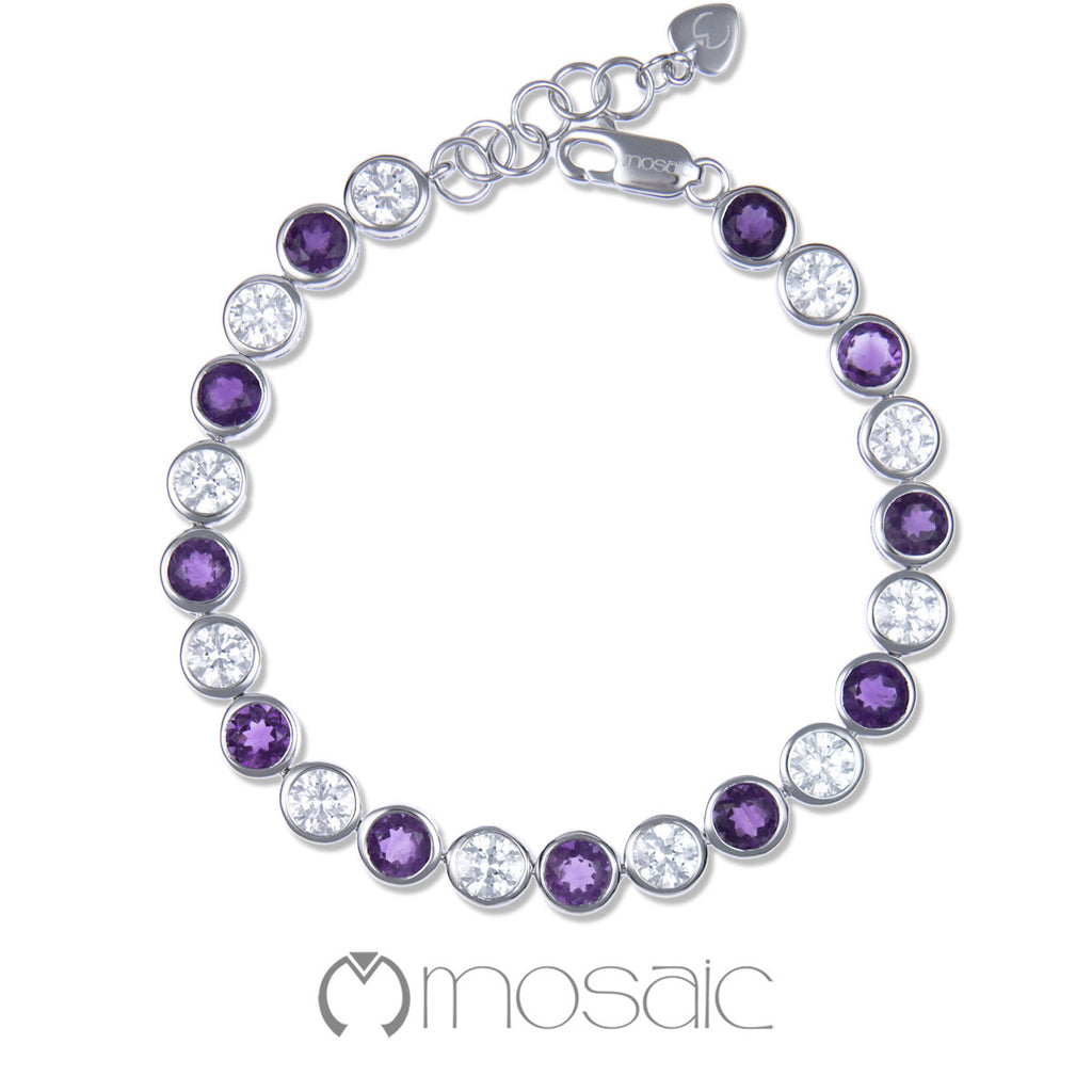 Bubble :: Fine Silver Purple Amethyst Gemstone Bracelet 4.551A - Mosaic Design Jewelry