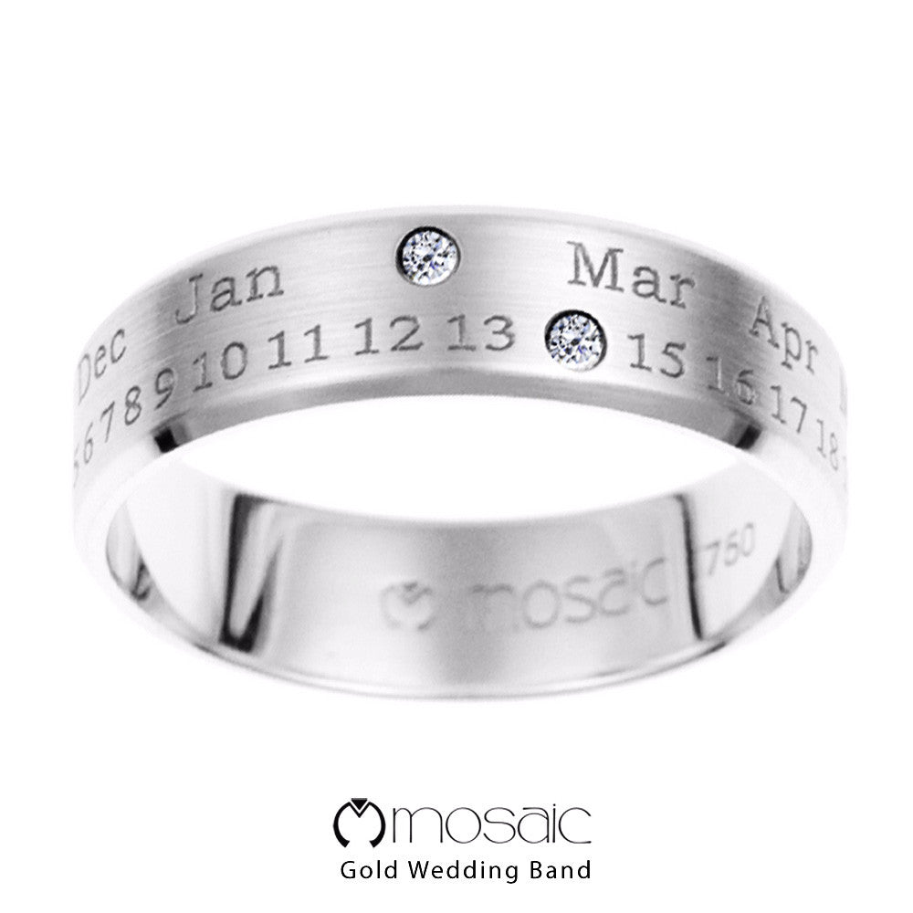 Fecha : Mosaic Fine Gold Couple Ring Band - Mosaic Design Jewelry