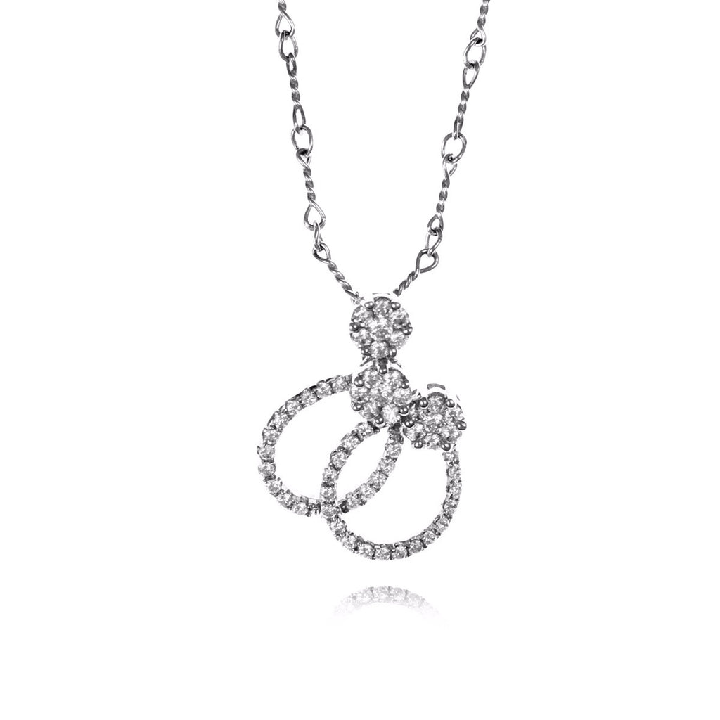 Diamond :: 18kt White Gold Necklace 7.009 - Mosaic Design Jewelry - 1