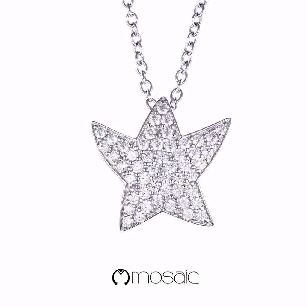 Fine Silver Brilliant Dancing Star Necklace - Mosaic Design Jewelry - 1