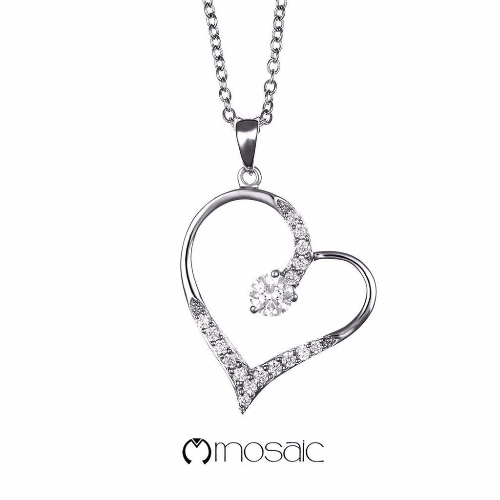 Fine Silver Elegant Heart Necklace - Mosaic Design Jewelry - 1