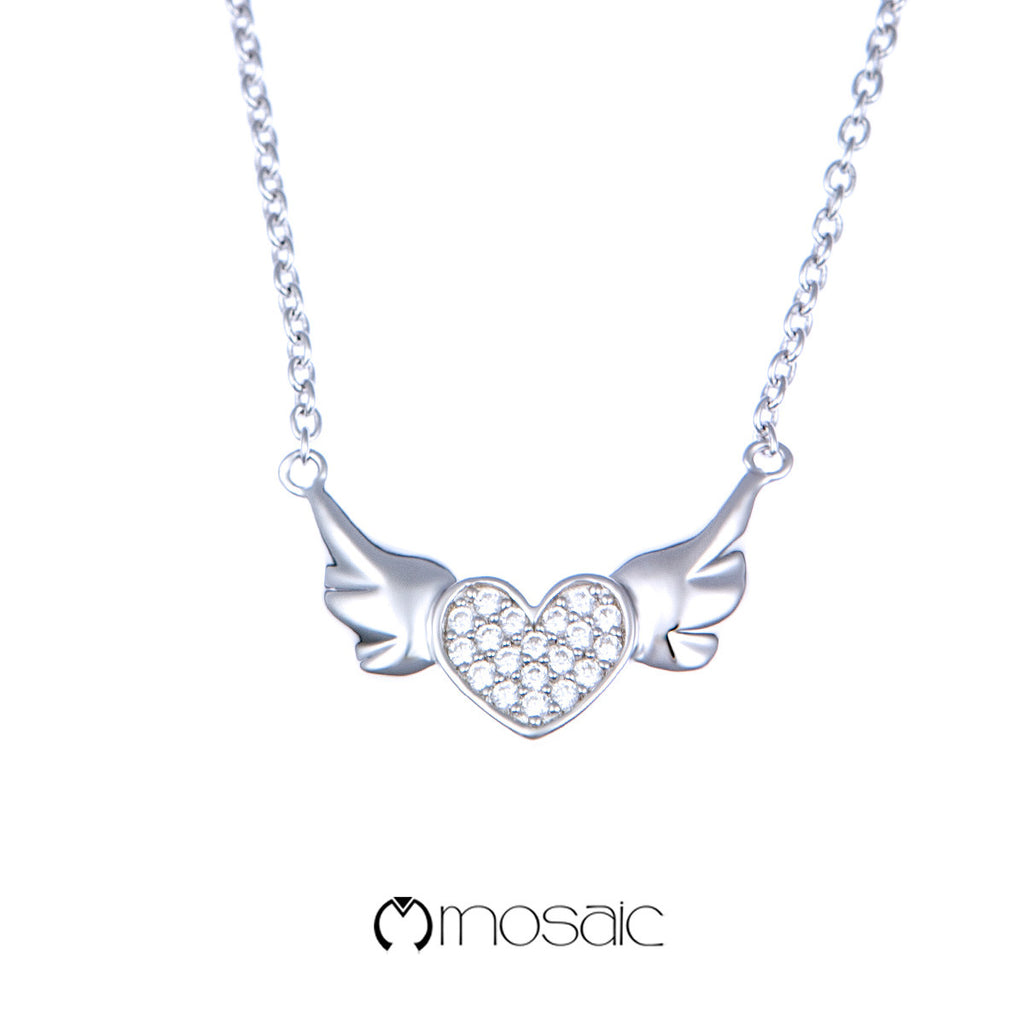 Mosaic Fine Silver Lovely Flying Heart Necklace - Mosaic Design Jewelry - 1