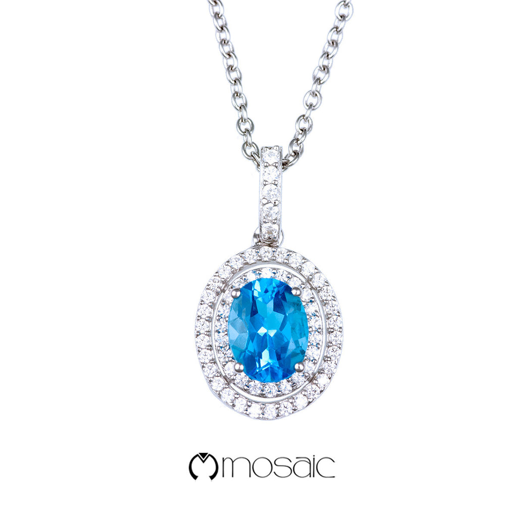 Fine Silver Double Oval Blue Topaz Gemstone Drop Necklace - Mosaic Design Jewelry - 1